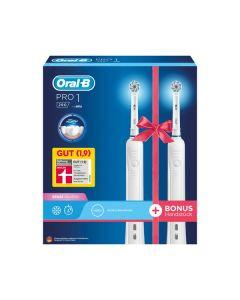 Braun Oral-B PRO 1 - 290 Duo-Pack - elektrische Zahnbürste + 2. Handteil - weiß - produkt